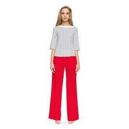 Czerwone Szerokie Spodnie z Wysokim Stanem