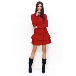 Czerwona Sukienka Dresowa z Falbanką i Wiązanymi Troczkami