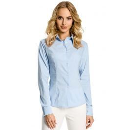 Błękitna Koszula Taliowana z Ozdobnymi Tasiemkami