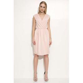 Różowa Sukienka z Kopertowym Dekoltem