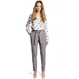 Szare Eleganckie Spodnie Typu Chino z Wiązanym Paskiem