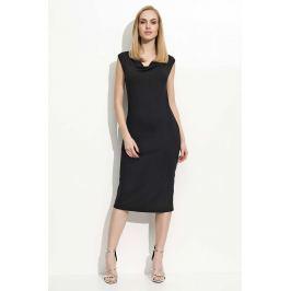 Czarna Sukienka Midi z Lejącym Dekoltem