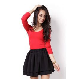 Czarna Marszczona Mini Spódnica z Falbankami