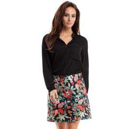 Spódnica Mini Trapezowa z Kolorowym Nadrukiem Wzór w Kwiaty