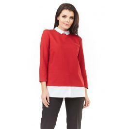 Czerwona Elegancka Bluzka 2 w 1 z Białym Kołnierzykiem