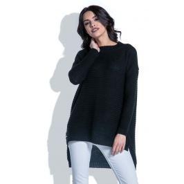 Czarny Sweter w Prążek z Dłuższym Tyłem
