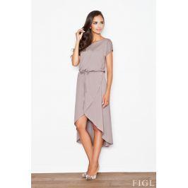Brązowa Ciekawa Sukienka z Wiązanymi Troczkami w Pasie