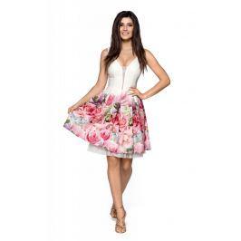 Kremowa Elegancka Wyjściowa Sukienka z Szerokim Dołem w Kwiaty