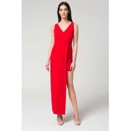 Czerwona Wyjściowa Dopasowana Sukienka z Asymetrycznym Dołem