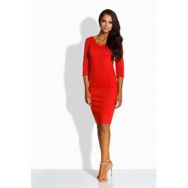 Czerwona Sukienka Dopasowana z Dekoltem V