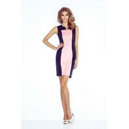 Granatowo Różowa Sukienka Dopasowana Dwubarwna bez Rękawów
