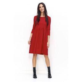 Czerwona Sukienka Dzianinowa Poszerzana z Rękawami  ¾