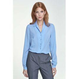 Elegancka Błękitna Koszula z Długim Rękawem Wzór w Kwiaty