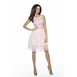 Różowa Wieczorowa Sukienka z Koronką i Tiulem