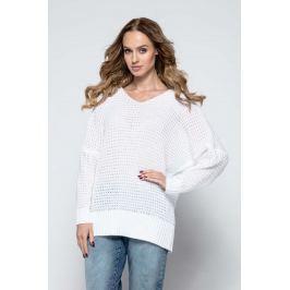 Biały Oversizowy Sweter z Dekoltem V
