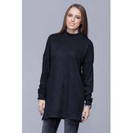 Czarny Oversizowy Długi Sweter z Półgolfem