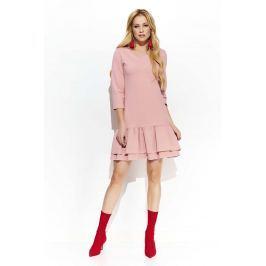 Różowa Trapezowa Sukienka z Falbankami