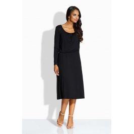 Czarna Sukienka z Zakładkami przy Dekolcie