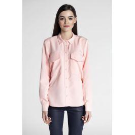 Różowa Klasyczna Koszula z Kieszeniami z Patką