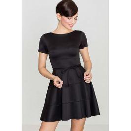 Czarna Rozkloszowana Sukienka z Krótkim Rękawem