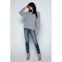 Szary Sweter Krótki Oversizowy z Dekoltem V