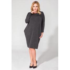 Ciemnoszara Luźna Dzianinowa Sukienka Midi z Długim Rękawem Plus Size
