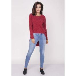 Czerwona Codzienna Melanżowa Bluzka Asymetryczna
