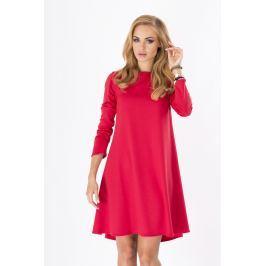 Czerwona Luźna Sukienka Midi z Długim Rękawem