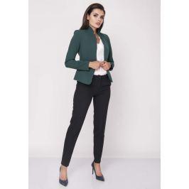 Zielony Krótki Elegancki Żakiet bez Zapięcia z Wysokim Kołnierzem