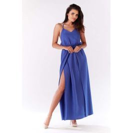 Niebieska Maxi Sukienka Wiązana na Karku