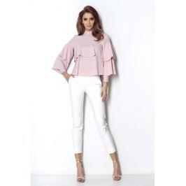 Różowa Ultrakobieca Bluzka Koszulowa z Falbankami