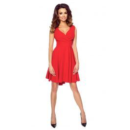 Czerwona Zmysłowa Sukienka z Kopertowym Dekoltem na Szerokich Ramiączkach