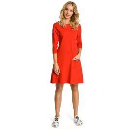 Czerwona Sukienka Trapezowa Dzianinowa z Ozdobnymi Tasiemkami