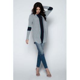 Szary Długi Sweter -Tunika z Kontrastowymi Paskami