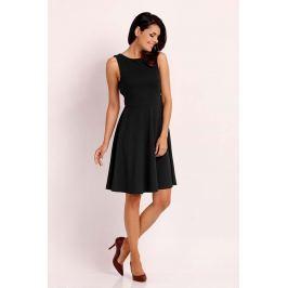 Czarna Wyjściowa Rozkloszowana Sukienka z Wycięciem na Plecach