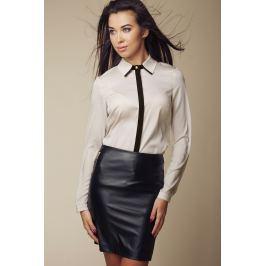 Elegancka Koszula z Kontrastową Lamówką - Beżowy