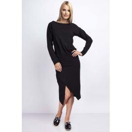 Czarna Casualowa Midi Sukienka z Kopertowym Dołem