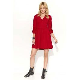 Czerwona Sukienka Rozkloszowana z Dekoltem V