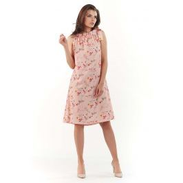 Różowa Wzorzysta Sukienka z Wiązanym Dekoltem
