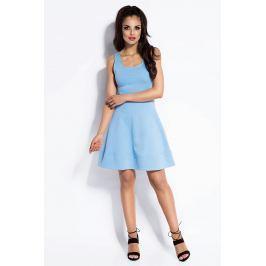 Błękitna Sukienka Rozkloszowana Mini z Odkrytymi Plecami