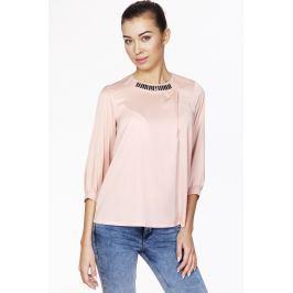 Różowa Elegancka Bluzka z Biżuteryjnym Akcentem przy Dekolcie