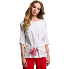 Oryginalna Oversizowa Bluzka z Wiązaniem - Czerwona Kokarda
