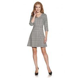 Ciemno Szara Trapezowa Sukienka z Żakardowej Tkaniny w Romby