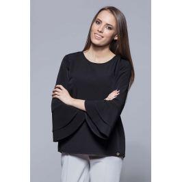 Czarna Elegancka Asymetryczna Bluzka z Hiszpańskim Rękawem
