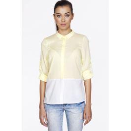 Cytrynowa Koszulowa Bluzka z Kontrastowym Panelem z Długim Podpinanym Rękawem