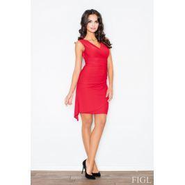 Czerwona Asymetryczna Sukienka Modnie Marszczona