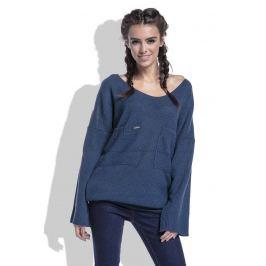 Granatowy Sweter w Serek z Kieszeniami z Przodu