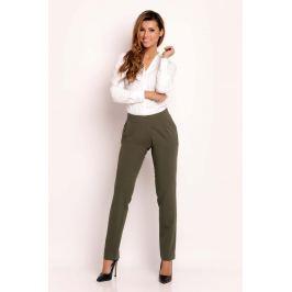 Oliwkowe Eleganckie Proste Spodnie na Pasku
