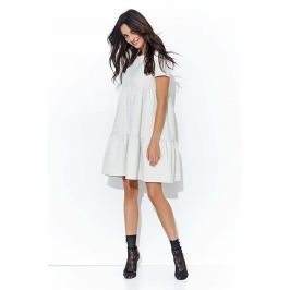 Beżowa Luźna Dresowa Sukienka z Falbankami