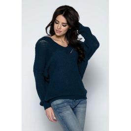 Granatowy Sweter Krótki Oversizowy z Dekoltem V